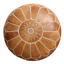 Moroccan Pouffe Pouf Ottoman Footstool COVER ONLY or STUFFED Genuine Natural Tan Leather